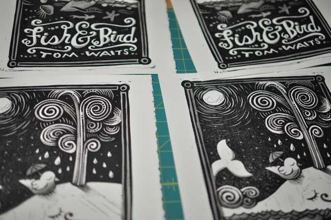 Fish and Bird printed